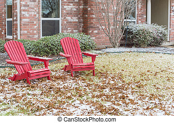 frente, nieve, adirondack, pórtico, casa, suburbios, rojo, ...