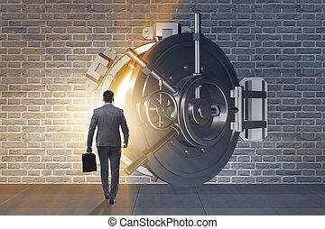 frente, operação bancária, homem negócios, porta, abóbada