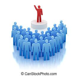 frente, orador, pessoas, falando