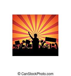frente, pódio, orador, público, torcida