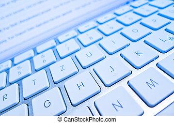 frente, pantalla, ordenador teclado