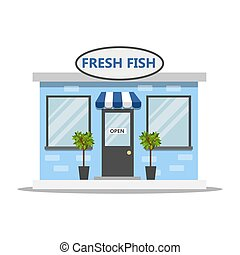 frente, peixe fresco, lado, loja