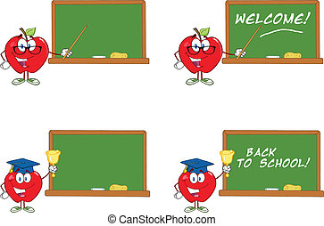 frente, pizarra, manzana