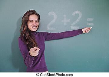 frente, pizarra, profesor, matemáticas