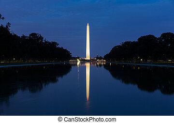 frente, refletir, washington, piscina, monumento