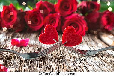 frente, rosas, tenedores, rojo, corazones