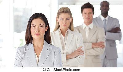 frente, sério, líder, equipe negócio