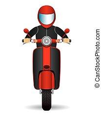frente, scooter, biker., vista.
