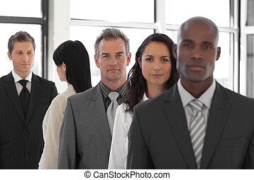 frente, serio, líder, equipo negocio