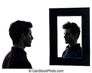 frente, seu, silueta, homem, espelho