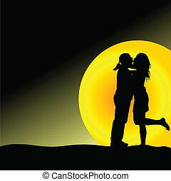 frente, sol, pareja, beso