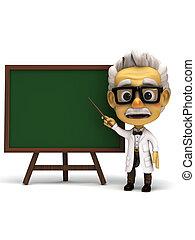 frente, tabla, verde, profesor