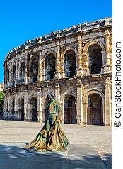 frente, torero, anfiteatro, monumento