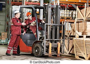 frente, trabajadores almacén, carretilla elevadora