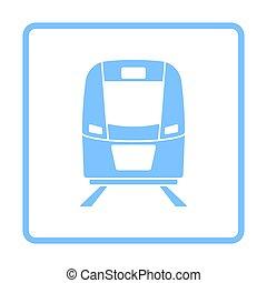 frente, trem, ícone, vista