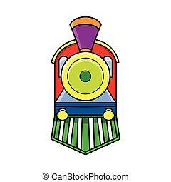 frente, trem, locomotiva, vista