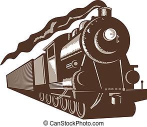 frente, trem, vapor, vista