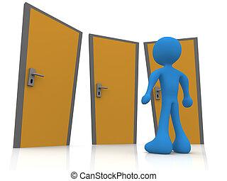 frente, tres, puertas