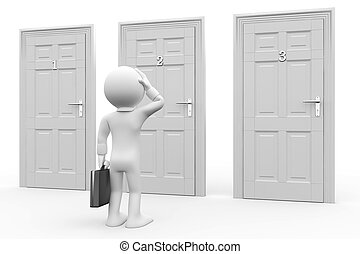 frente, tres, puertas, hombre