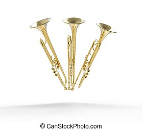 frente, trompetas, tres, vista