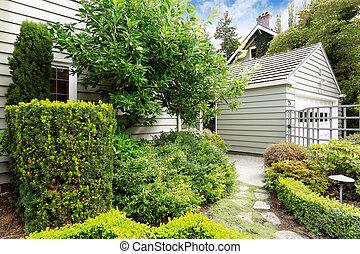 frente, verde, yarda, jardín, sendero