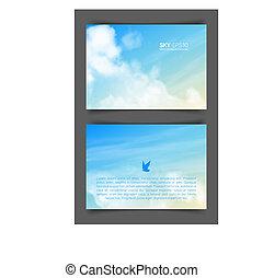 frente verso, formato, beige-blue, céu, realístico, voador,...