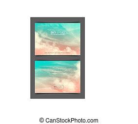 frente verso, pink-blue, formato, céu, realístico, voador,...