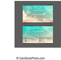 frente verso, pink-blue, negócio, céu, realístico, cartões,...