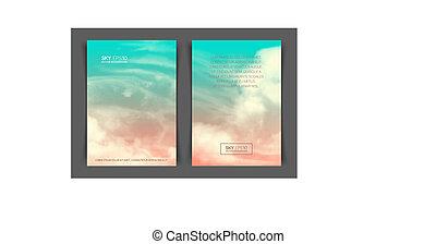 frente verso, pink-blue, vertical, formato, céu, realístico,...