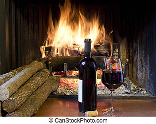 frente, vidro, lareira, vinho