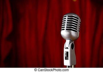 frente, vindima, microfone, cortina vermelha