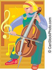 frente, violino, menina, tocando, vista