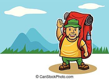 frente, vista montanha, mountaineer, panorâmico