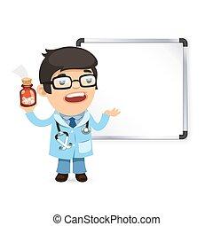 frente, whiteboard, pílulas, doutor