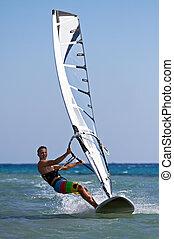 frente, windsurfer, jovem, vista