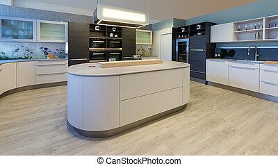 gabinetes de cocina blancos con una isla azul Isla Diseador Habitacin Cocina Azul Planta Diseador