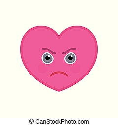 Frenzied heart shaped funny emoticon icon. Furious pink ...