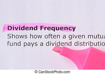 frequência, dividendo