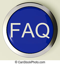 Frequently Asked Questions Button Or FAQ Icon Metallic And Blue