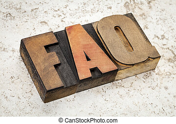 frequently asked questions - FAQ acronym - text in vintage...