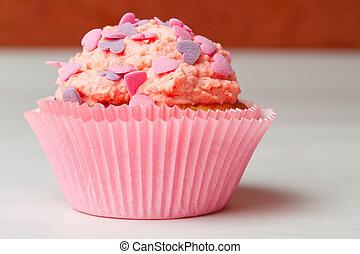 fresa, asperja, glaseado, cupcake