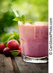 fresa, bebida fruta