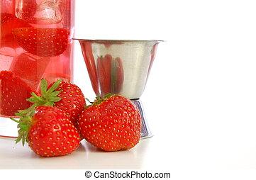 fresa, bebida, verano