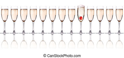 fresa, champaña, -, navidad, cóctel