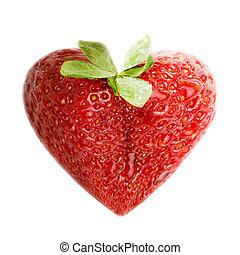 fresa, como, un, corazón, amor, señal, símbolo