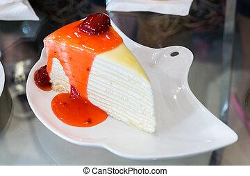 fresa, crape, pastel, blanco, placa