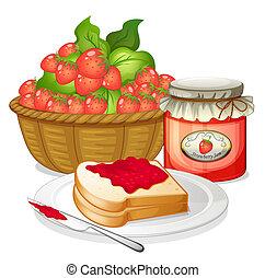 fresa, emparedado, fresas, atasco