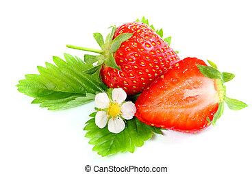 fresa, fondo blanco, maduro, fresco