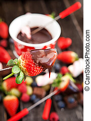 fresa, fondue, mojado, chocolate