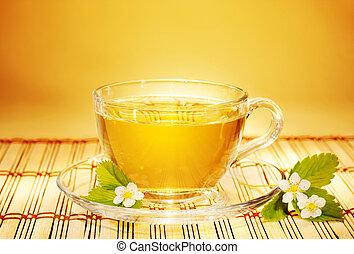 fresa, té, en, suave, tibio, mañana, luz